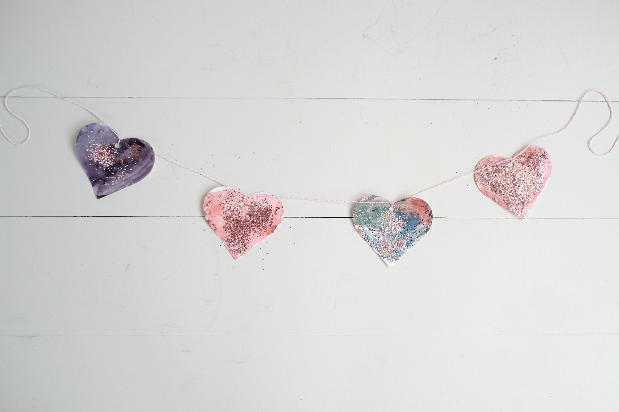 Painted Valentine Heart Garland