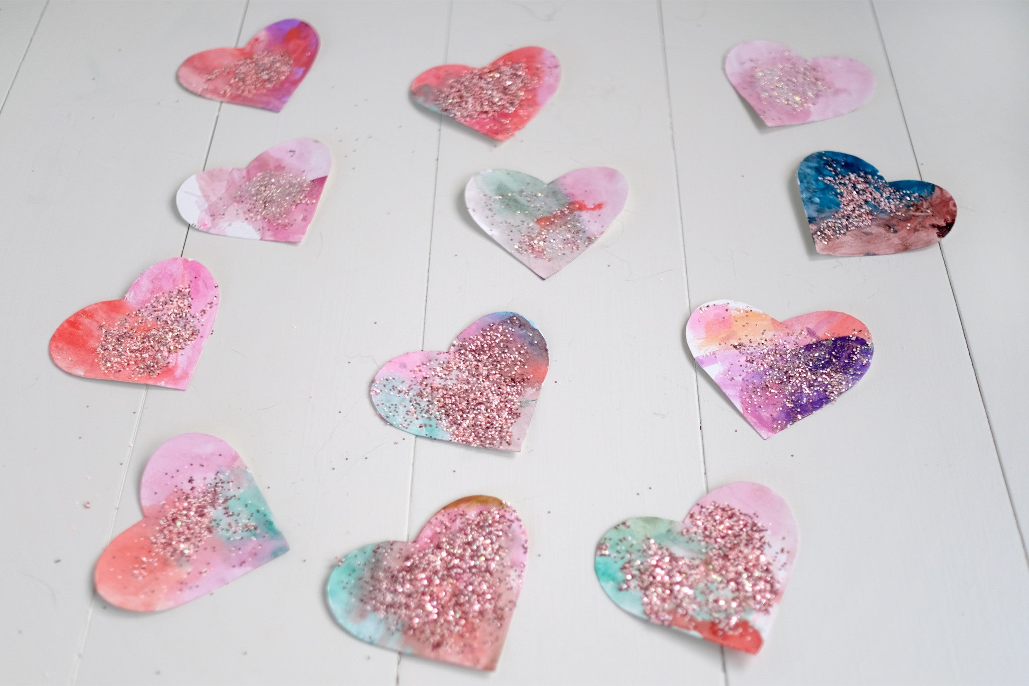 Painted Valentine Hearts