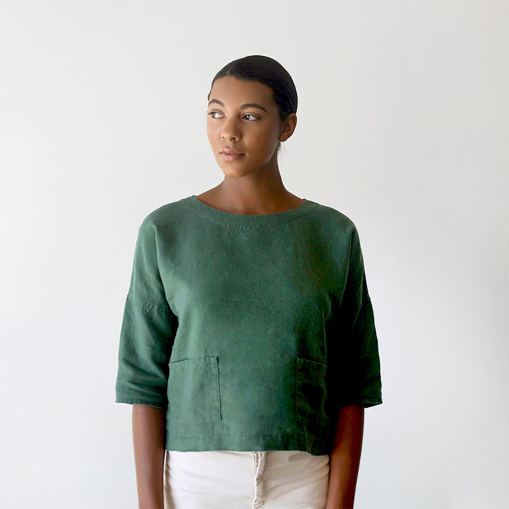 Cropped Boxy Top with Pockets