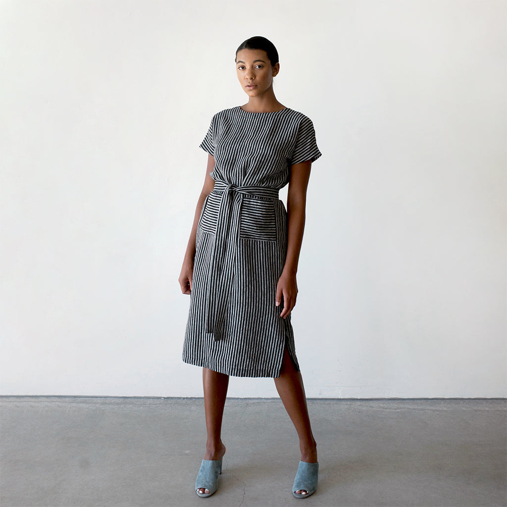 Shift Dress with Pockets and Waist Tie