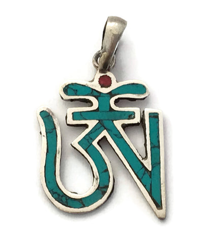 Buddhist Om Turquoise Silver Pendant