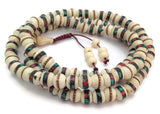 Tibetan Turquoise and Coral Inlay Bone Beads Full Mala