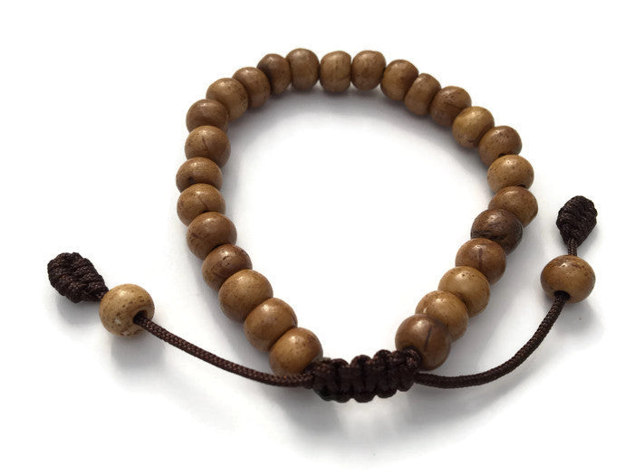 Brown Bone Adjustable Wrist Mala Bracelet