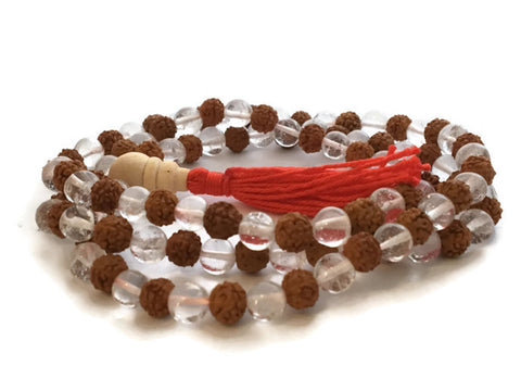 Crystal Quartz and Rudraksha Seed 108 Beads Full Mala