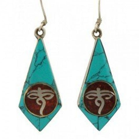Buddha Eye Turquoise Drop Silver Earring