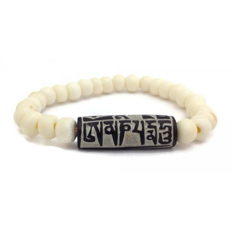 "Buddhist Mantra ""Om Mani Padme Hum"" Carved Stone Bone Beads Stretch Wrist Mala"