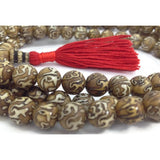 "Tibetan Buddhist Mantra ""Om Mani Padme Hum"" Carved Conch Shell Japa 108 Beads Full Mala"
