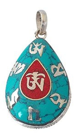Buddhist Mantra Om Mani Padme Hum and Om Symbol Silver Pendant
