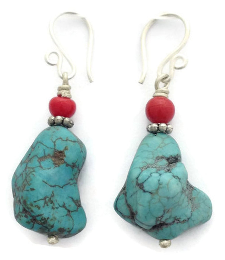 Traditional Tibetan Turquoise Drop Earring