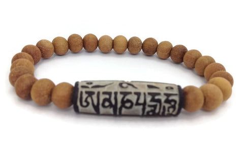 "Buddhist Mantra ""Om Mani Padme Hum"" Carved Stone Sandalwood Beads Stretch Wrist Mala"
