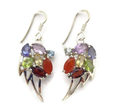 Angel Wing Chakra Silver Earrings