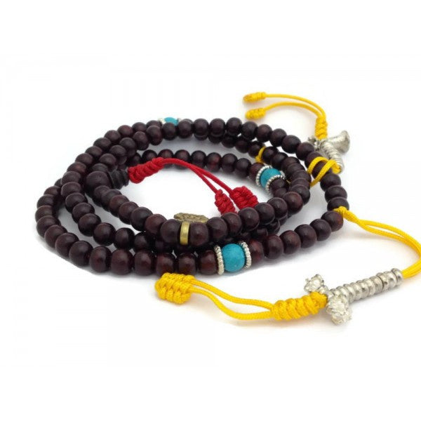 Tibetan Dark Rosewood 108 Beads Full Mala with Counters