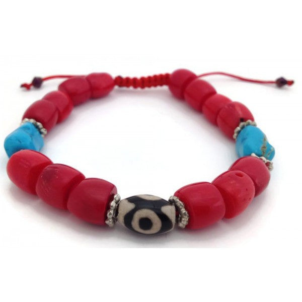 Tibetan Red Coral Beads Adjustable Mala Bracelet