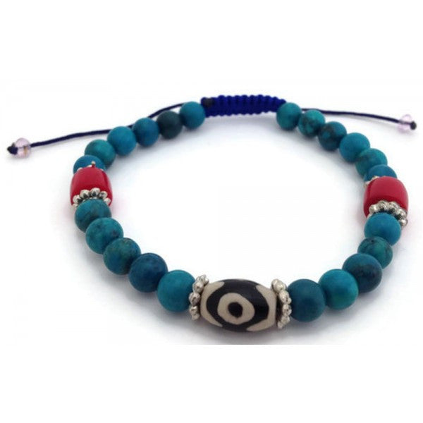 Tibetan Turquoise 3-Eye dzi Bead Adjustable Wrist Mala