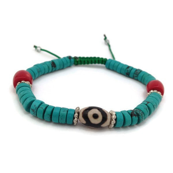 Traditional Tibetan 3-Eye Dzi Bead with Turquoise and Coral Bracelet