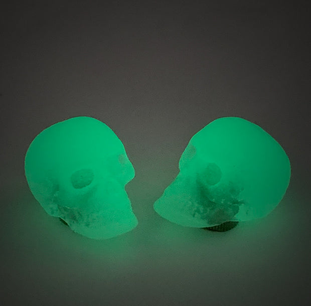 Skulls valve caps - glow in the dark