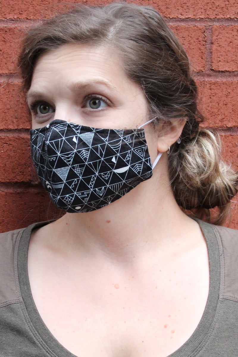 Mask with Adjustable Ear Elastics + Nose Wire