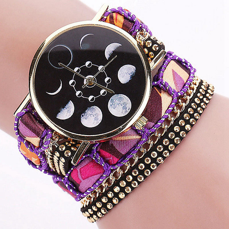 Moon Phase Wrap Wrist Watch