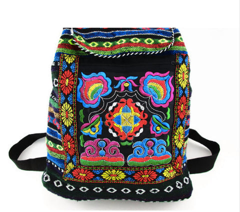 Colorful Embroidered Boho Backpack