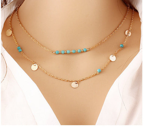 Turquoise Coin Double Layered Necklace