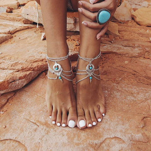 Boho Turquoise Foot Chain Anklet