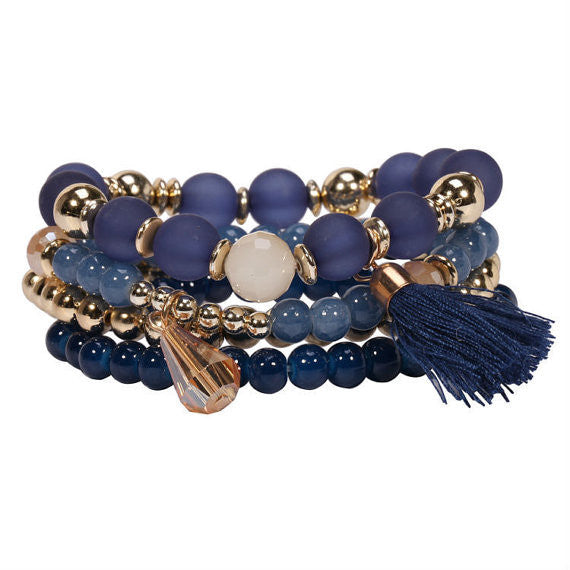 Blue Beaded Tassel Bracelet
