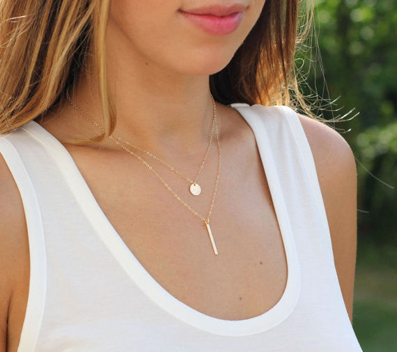 Thin Vertical Bar Necklace