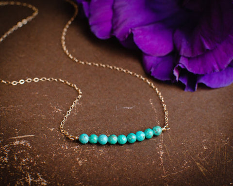 Turquoise Beaded Bar Necklace