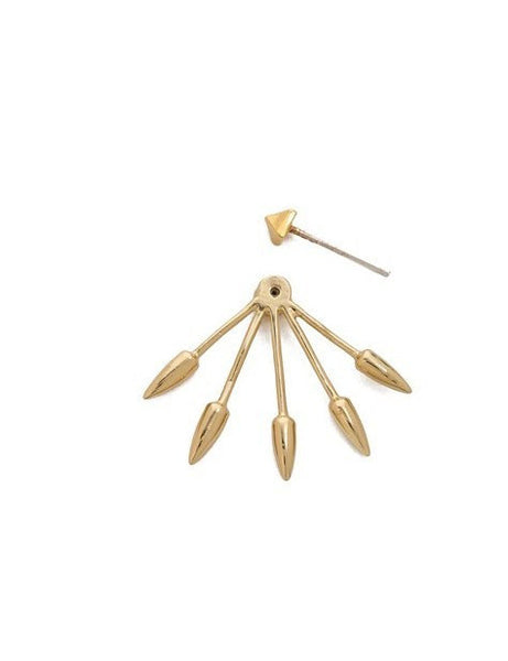 Gold Spike Ear Jacket Earrings