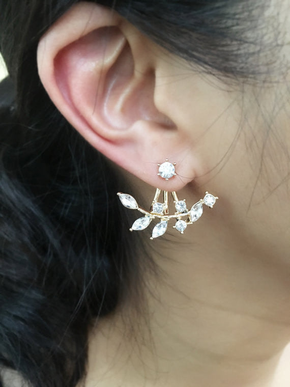 Crystal Leaf Ear Jacket