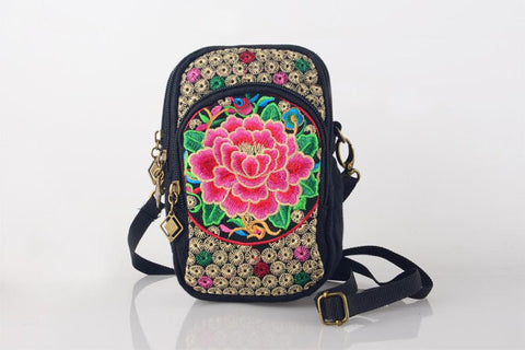 Red Floral Embroidered Boho Bag