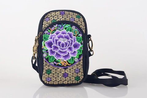 Purple Floral Embroidered Boho Bag