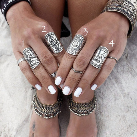 Embroidered Plated Ring Set