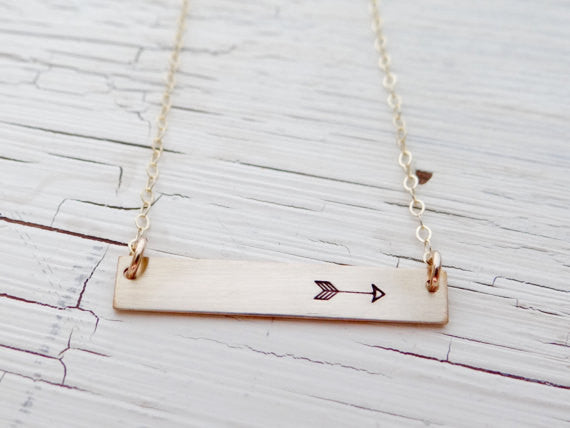 Simple Bar Necklace with Arrow