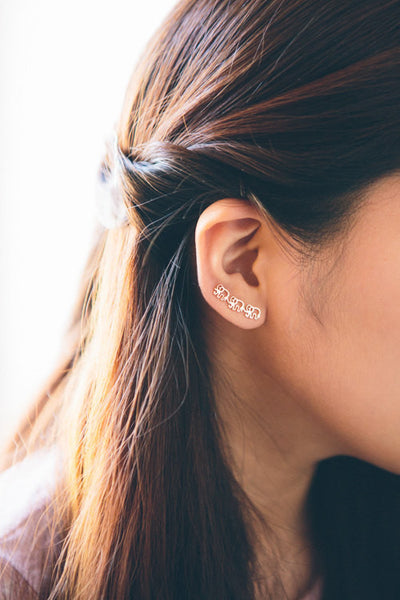Elephant March Ear Climber Earrings