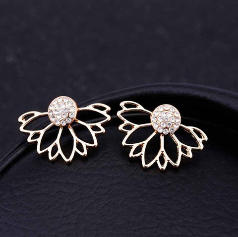 Crystal Flower Ear Jacket Earrings