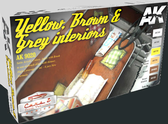 AK Interactive Cars & Civil Vehicles Series: Yellow, Brown & Grey Interiors Acrylic Paint Set (6 Colors) 17ml Bottles