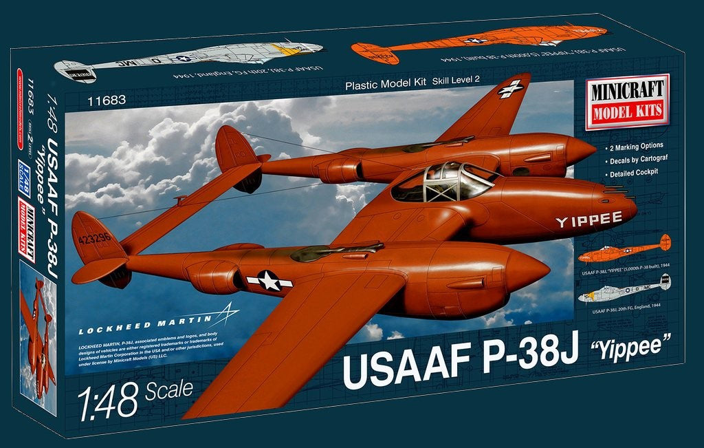 Minicraft Model Aircraft 1/48 P38J Yippee USAAF Aircraft Kit