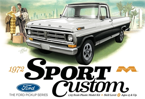 Moebius Model Cars 1/25 1972 Ford Sport Custom Pickup Truck Kit
