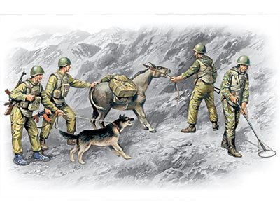 ICM Military Models 1/35 Soviet Sappers Soviet-Afghan War 1979-88 (4 Figs, Dog & Donkey) Kit