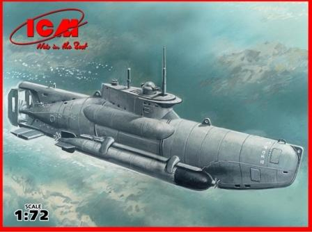ICM Model Ships 1/72 WWII German U-Boat Type XXVIIB Seehund (Late) Midget Submarine Kit