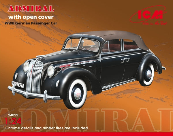 ICM Military Models 1/24 WWII German Admiral Convertible Passenger Car w/Cover Kit