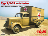 ICM Military Models 1/35 WWII German Type 2,5-32 Ambulance Truck w/Shelter Kit