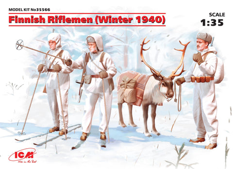 ICM Military Models 1/35 Finnish Riflemen Winter 1940 (3 w/Reindeer)