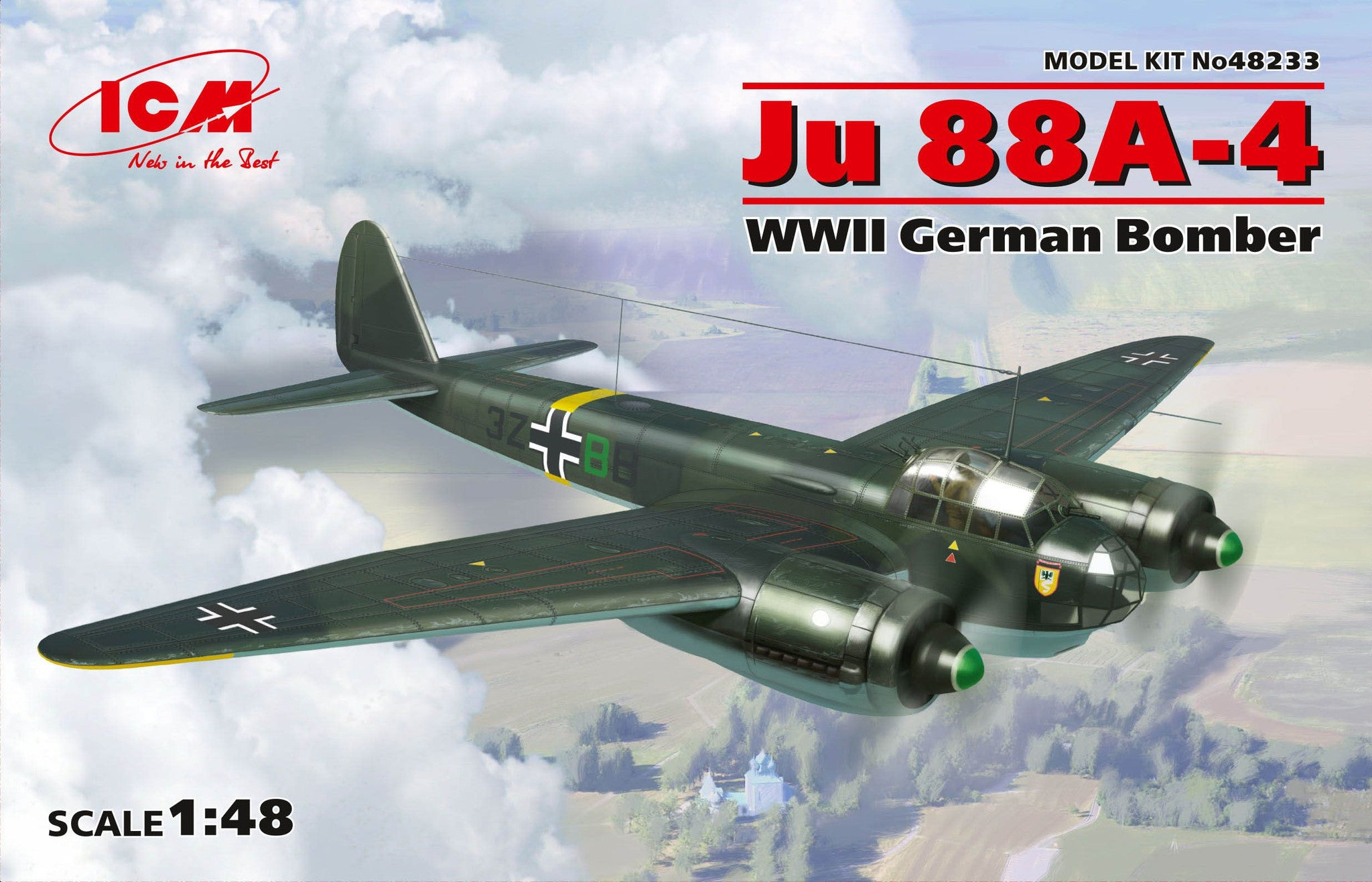 ICM Aircraft 1/48 WWII German Ju88A4 Bomber Kit