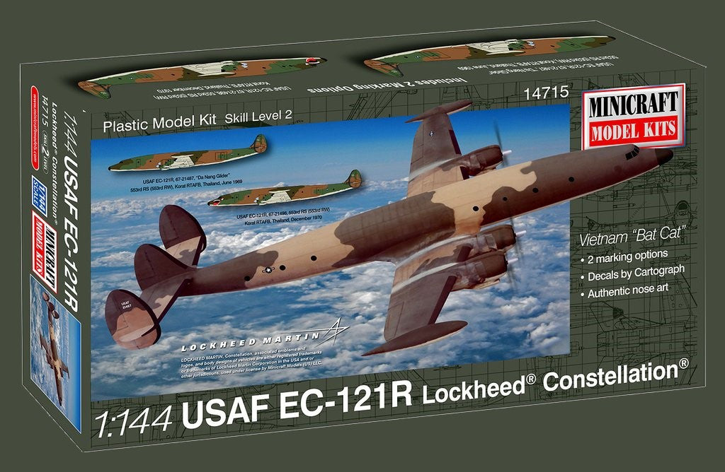 Minicraft Model Aircraft 1/144 EC121R Lockheed Constellation Vietnam Batcat USAF Aircraft Kit