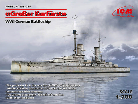 ICM Model Ships 1/700 WWI German Grosser Kurfurst Battleship Kit (New Tool)