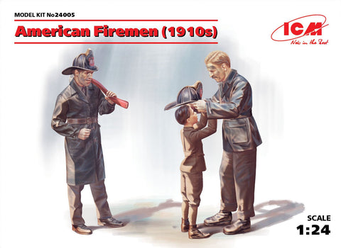 ICM Military Models 1/24 American Firemen & Boy 1910s (3) Kit