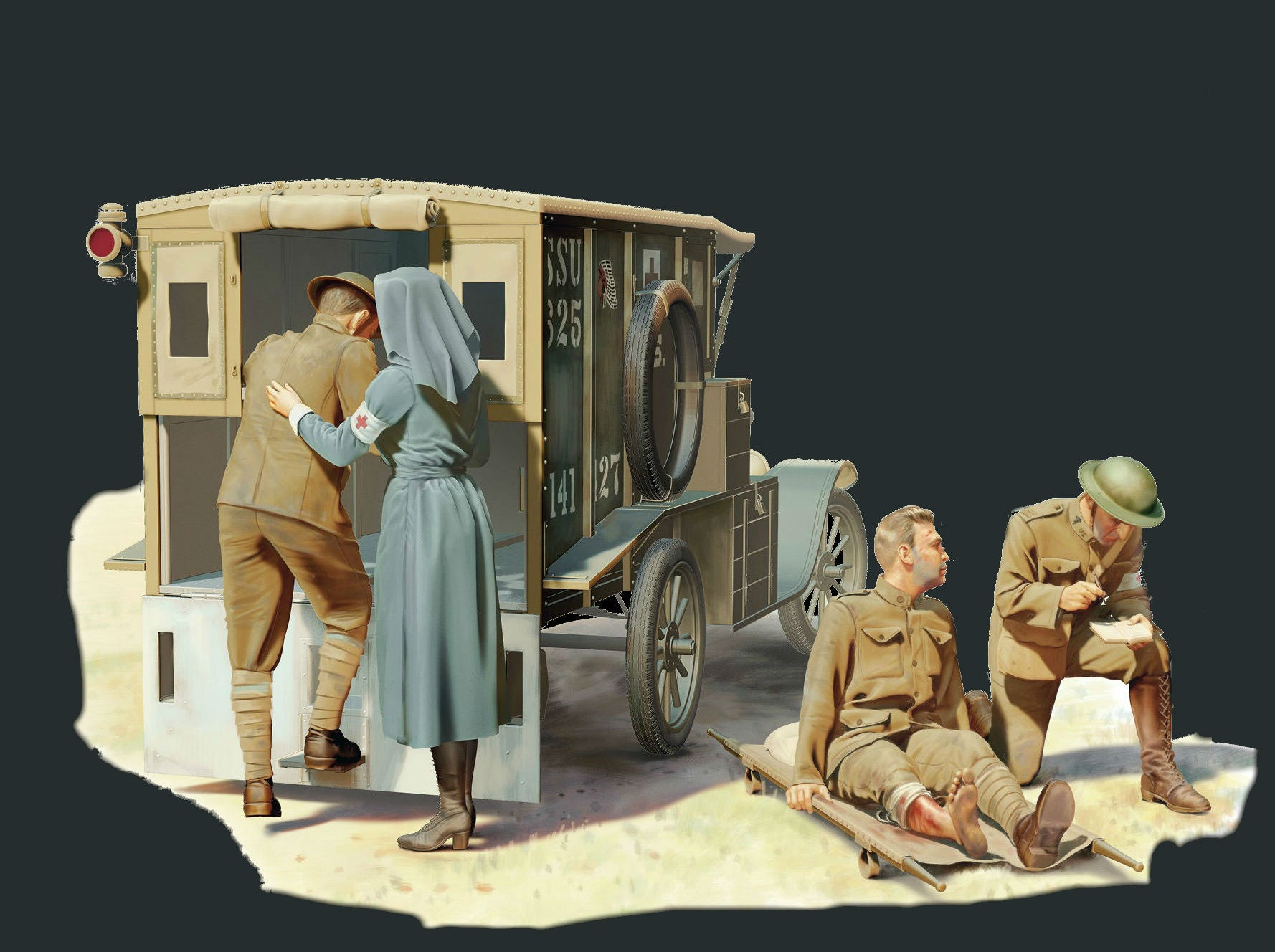 ICM Military 1/35 WWI American Model T 1917 Ambulance w/Medical Personnel Kit