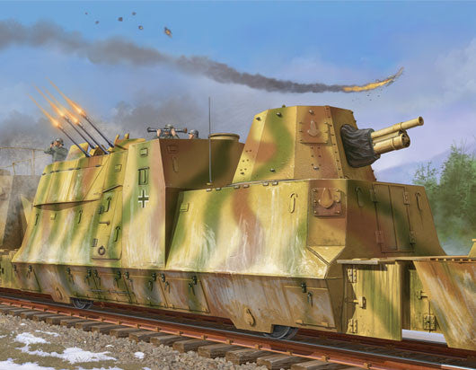 Trumpeter Military Models 1/35 WWII German Army Kanonen & Flakwagen Armored Anti-Aircraft Railcar Kit